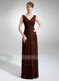 A-Line/Princess V-neck Floor-Length Chiffon Bridesmaid Dress With Ruffle (007001832) - JJsHouse - $108