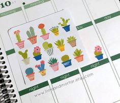 Cactus Succulent Planner Stickers by LimeandMortar on Etsy - perfect to remind you to water your indoor plants