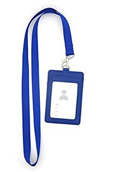 Bird Fiy Vertical Style PU Leather ID Badge Holder and Neck Lanyard (blue)