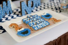 Boy's Sesame Street Cookie Monster Birthday Party Sugar Cookie Ideas