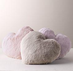 loveable heart-shaped pillows in luxuriant faux fur. #rhbabyandchild