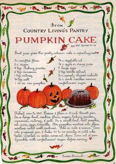 Susan Branch's pumpkin cake recipe.