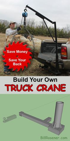 Build your own truck crane. A homemade approach to lifting heavy logs, generators, and equipment.