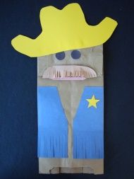 Paper bag cowboy puppet. Could let the children pick their own colors to make it a cowboy or cowgirl.