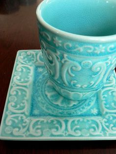 Take a sip from this aqua blue cup and saucer. #refreshrecolor