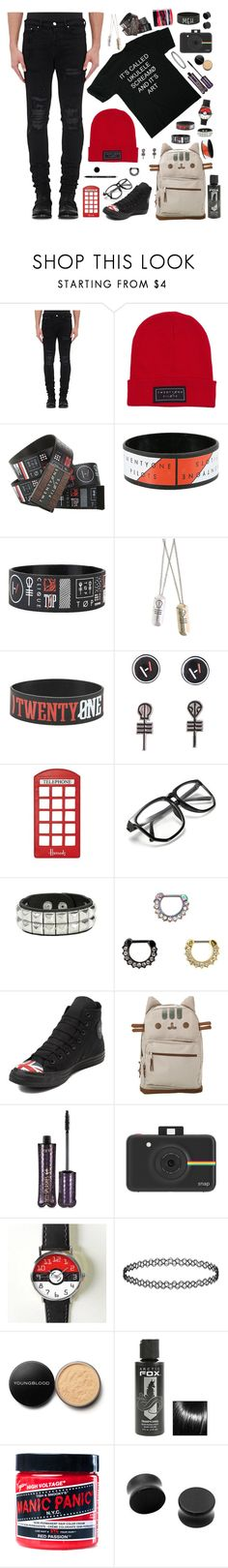 """""""Going to a Twenty One Pilots concert !"""" by xx-prince-gumball-xx ❤ liked on Polyvore featuring AMIRI, Harrods, Arbonne, Converse, Pusheen, tarte, Polaroid, Youngblood, Manic Panic NYC and PrinceGumballsCloset"""