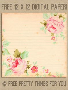 Scrapbook: Free 12 x 12 Romantic Rose Digital Paper - Free Pretty Things For You