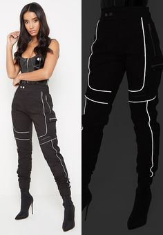 Reflective Piped Cargo Pants - Black - Source by alisjimenis - Cargo Pants Outfit, Cargo Pants Women, Pants For Women, Edgy Outfits, Teen Fashion Outfits, Black Outfits, Dope Fashion, Fashion Pants, Mode Kawaii