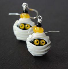 Halloween Earrings, Mummy Earrings, Spooky Jewelry, Lampwork Earrings, Glass Bead Earrings by bstrung on Etsy