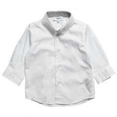 Boss Boys White Cotton Poplin Shirt at Childrensalon.com