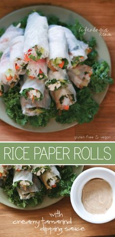 Summer food : Rice paper rolls with creamy tamarind dip  Naturally gluten-free and vegan!    | Organize and save your favourite recipes OFFLINE on your iPhone or iPad with @RecipeTin! Find out more here: www.recipetinapp.com #recipes #vegan