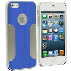 Blue Brushed Metal Aluminum Metal Hard Case Cover for Apple iPhone 5 / 5S :: CellPhoneCases.com