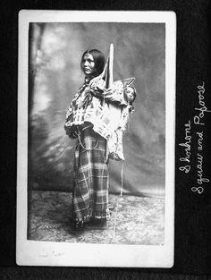 "Real(Mislabeled) - Pinned as ""Sacagawea (/ˌsækədʒəˈwiːə/) c. 1788 – December 20, 1812"" - This is Mary Enos and baby - Shoshoni – 1872."
