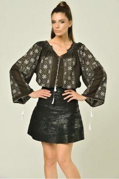 Leather Skirt, Blouses, Trends, Long Sleeve, Skirts, Sleeves, Handmade, Travel, Beautiful