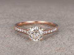 Compromiso de Moissanite brillante 1ct anillo de oro rosa