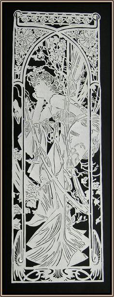 Paper Cut Art Nouveau 'Evening'