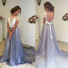 $199.99  Short Sleeves Lace Bodice Prom Dress,Lavender Chiffon Prom Evening Gowns,Backless Prom Party Dress