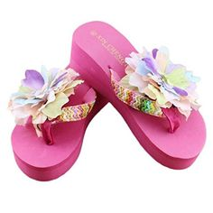 458c83dc826d Hatop Women Summer Wedge Thong Flip Flops Sandals Shoes Beach Casual Flower  Slippers 8 Hot Pink
