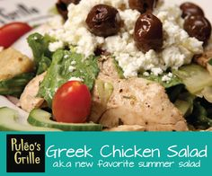#Puleosgrille #Greeksalad  Marinated grilled #chicken, feta cheese, red onions, black olives, cucumbers, tomatoes, sourdough croutons, and romaine hearts tossed with house Italian dressing.