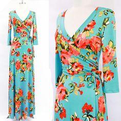 AQUA Garden FLORAL Faux Wrap MAXI DRESS Jersey LONG Skirt vtg TEA PARTY S-M-L #tamarstreasures #WrapDress #CocktailEvening