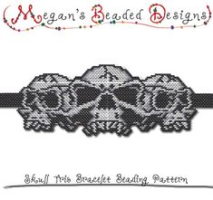 BEADING PATTERN - Halloween Skull Trio Bracelet in Brick Stitch or Peyote Stitch Sculptured Design - Printable PDF Pattern. This is a pattern only, no stitch instructions are included. Either brick stitch or peyote stitch can be used. This is a sculpted design, so use whichever of the two stitches is easier for you to complete the design. Design your own clasp...  $3.95