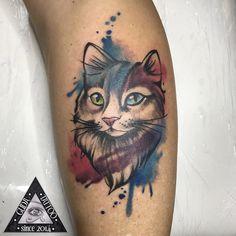 Kitty Tattoos, Tattoo Cat, Watercolor Splatter, Watercolor Tattoo, Pretty Flower Tattoos, Tattoo Ideas, Tattoo Designs, Awesome Designs, Animal Tattoos