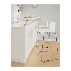 GLENN Bar stool, white, chrome plated white/chrome plated 30 3/8