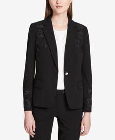 Calvin Klein Floral-Applique One-Button Jacket - Black 14