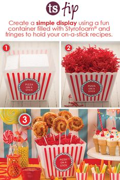 Create a simple display using a fun container filled with Styrofoam® and fringes to hold your on-a-stick recipes. Easy as 2 Birthday Gifts, Birthday Parties, Tastefully Simple, Kids Corner, Party Recipes, Fringes, Shower Ideas, Birthdays, Container
