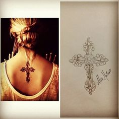 #cross tattoo #girl # releitura                                                                                                                                                     More