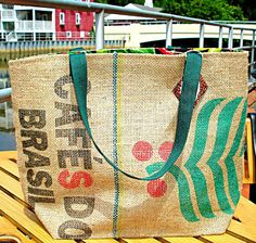 Coffee Sack Tote with Hot Pepper Lining Upcycled by BackAlleyChic, $55.00