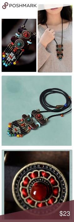 "💕New: Tibetan Ethnic Style Sweater Necklace Stunning colors on this handmade statement piece. Materials: copper, agate, turquoise, wood and natural stones. Pendant size: 4.5"" x 2"". Length: 33.86"".  Limited quantities. Jewelry Necklaces"