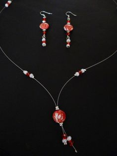 Red lava necklace and earring set