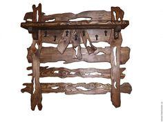 Купить полка - вешалка - коричневый, прихожая, полка из дерева, состаренное дерево, состаренный стиль, вешалка