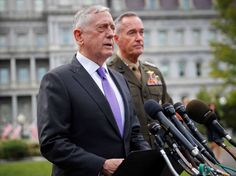 U.S. defense chief Mattis threatens 'massive military response' if N.Korea attacks  -  September 3, 2017:  Defense Secretary Jim Mattis, left, accompanied by Joint Chiefs Chairman Gen. Joseph Dunford, right, speaks to members of the media outside the West Wing of the White House in Washington, Sunday, Sept. 3, 2017, regarding the escalating crisis in North Korea's nuclear threats.