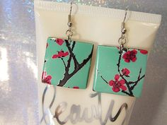 Arizona Green Tea Cherry Blossom Earrings Pop Can by MissMaggiesPlace #Asian #SodaCanJewelry #Metal #Recycle #Stash #FoundObjects