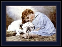 Antique English Bulldog being hugged by Little Girl Picture decoupaged on wood. A must for any English Bulldog fan. Size is 8.5X11inches. Matte finish. Ready to hang on any wall
