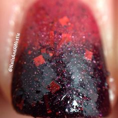 #macro of Novel Nail Polish 'Dark and Full of Terrors'. 2 coats, with topcoat. Thermal crelly (with glitter) that goes from black when cold, to red when warm. #nails #nailpolish #indiepolish #novelnailpolish #thermalpolish