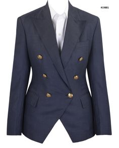 Dugdale Blue Birdseye     Women's Bespoke blazer in wool and cashmere blended fabric.     Features: Flap hip pockets and slant chest pocket