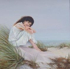 Peter Taylor Quidley - Young Woman Seated On A Sand Dune