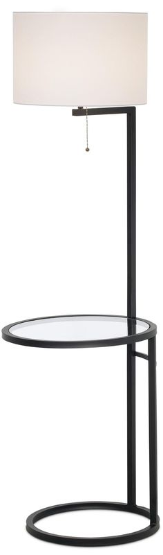 Space Saver Glass Tray Table Floor Lamp -