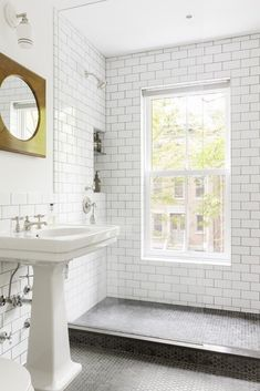 black hex tile floor, white subway tile bath, glass shower doors, window in shower Bathroom Windows, Bathroom Renos, Small Bathroom, Master Bathroom, Tile Bathrooms, Bathroom Gray, Master Shower, Glass Bathroom, Downstairs Bathroom