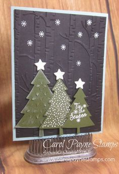 Stampin' Up!, Peaceful Pines, DIY Crafts, handmade Christmas cards, This is the 3rd card for my November Online Class! Check out my blog for more:http://www.carolpaynestamps.com/2015/11/stampin-up-peaceful-pines-for-november-online-class.html