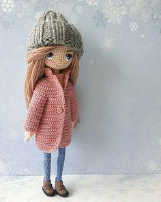 Amigurumi doll in a pink coat with a grey knitted hat. Amigurumi doll in a pink coat with a grey knitted hat. Amigurumi Doll, Amigurumi Patterns, Doll Patterns, Crochet Patterns, Crochet Art, Cute Crochet, Crochet Animals, Knitted Dolls, Crochet Dolls