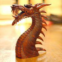 Wood statuette, 'Dragon's Head'