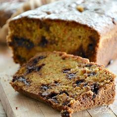 Carrot bread with chocolate chips and brown sugar glaze