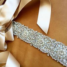 Wedding Dress Sash Rhinestone Pearl Swarovski by bigrockbridal