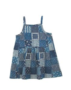 wolfechild park dress in patchwork print denim twill. tank style dress with squared neck and gathering detail at waist. slips on. matching self bel...