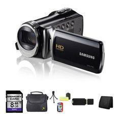 Samsung HMX-F90 HD Camcorder (Black) + 8GB SDHC Memory Card + Carrying Case + Mini Tripod Kit + USB SDHC Reader + Memory Wallet