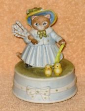 "Vintage Schmid Music Box, Ceramic Kitty Cucumber, 2 birds ""My Favorite Things"","